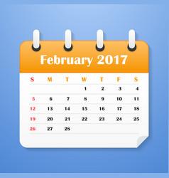 usa calendar for february 2017 vector image