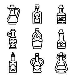 Vinegar icon set outline style vector