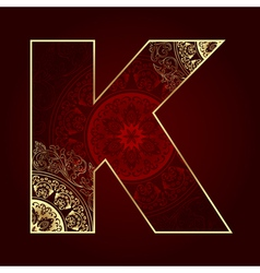 Vintage alphabet with floral swirls letter K vector