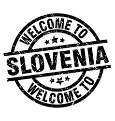 welcome to slovenia black stamp vector image