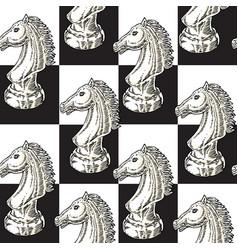 White chessman knight seamless pattern vector