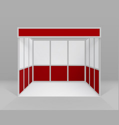White red indoor trade exhibition booth stand vector