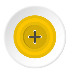 Yellow round sewing button icon circle vector