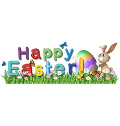 A happy easter greetings in the garden vector image vector image