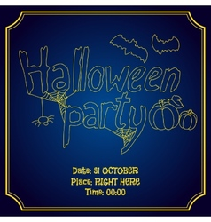 Halloween party poster with pumpkin and bats vector image vector image