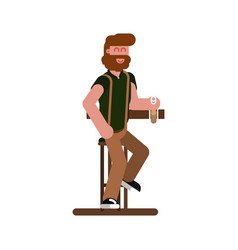 man in bar drinks a beer vector image