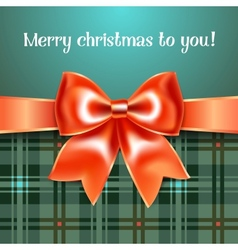Merry Christmas background with red ribbon bow vector image vector image