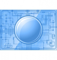 microchip with button vector image vector image