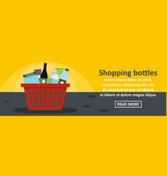 shopping bottles banner horizontal concept vector image