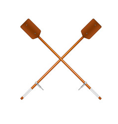 two crossed old oars in brown design vector image vector image