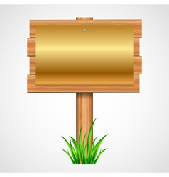 wooden sign with gold paper vector image