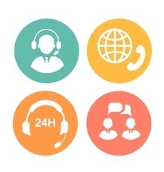 call center icons of operator and headset vector image