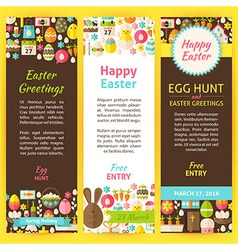 Happy easter party invitation flyer set vector