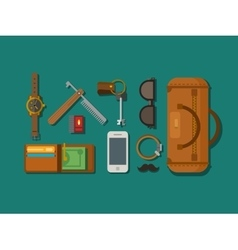 Hipster Elements Laying on Surface vector image vector image