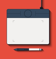 Isolated graphic tablet with the handle vector image