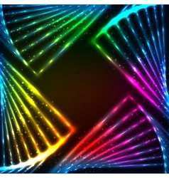 Rainbow neon abstract frame vector image