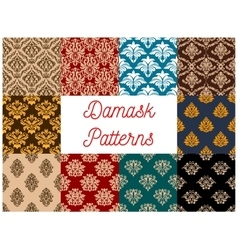 Seamless floral patterns set with damask ornaments vector image vector image