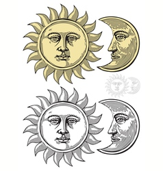 sun and moon with faces vector image vector image