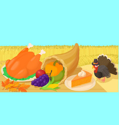 thanksgiving day concept cartoon style vector image