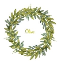 Watercolor olive wreath vector image