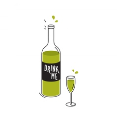 Bottle of green liquid and wineglass Drawing vector image