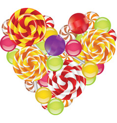 candies in shape of heart vector image vector image