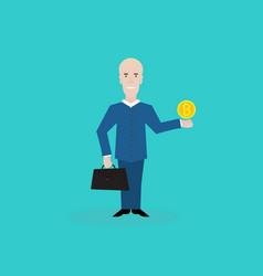 cartoon happy businessman with bitcoin on hand vector image