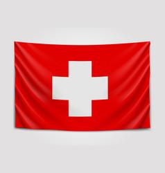 hanging flag of switzerland swiss confederation vector image