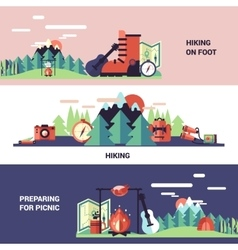 Hiking And Picnic Horizontal Banners vector image vector image