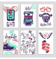 Hipster sketch banner set vector