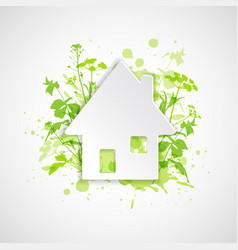 white house and green plants vector image