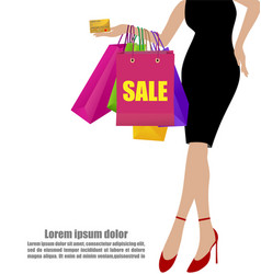 Woman hand in black dresses with colorful vector