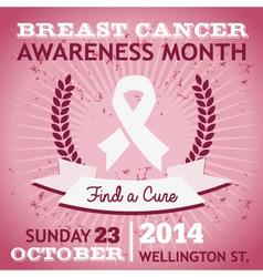 Breast Cancer Ribbon Awareness Poster vector image