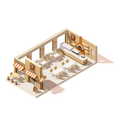 isometric low poly pizzeria vector image vector image