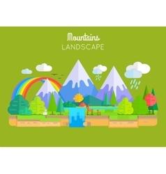 Mountains Landscape Concept In Flat Design vector image vector image