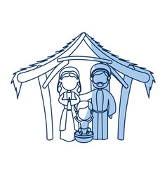 outlined manger mary joseph baby jesus nativity vector image