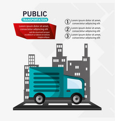 public transport truck delivery infographic vector image