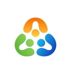 teamwork logo people united symbol icon design vector image