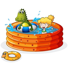 A girl and a crocodile swimming inside the vector image