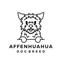 Affenhuahua dog monoline logo icon vector