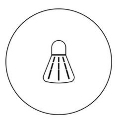 badminton shuttlecock black icon in circle outline vector image