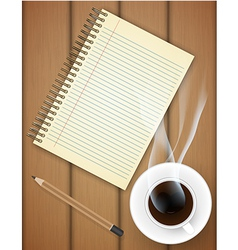 Blank notebook with coffee cup on table vector