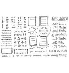 Bullet journal doodle set - hand drawn divider vector