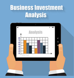business analysis tablet in his hands vector image