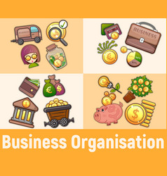 Business organisation concept banner cartoon vector