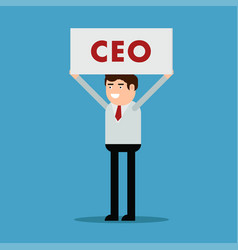 businessman with a poster and an inscription ceo vector image