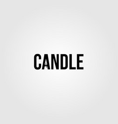candle light flame logo negative space in candle vector image