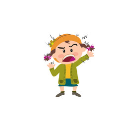 Cartoon character of a angry girl vector