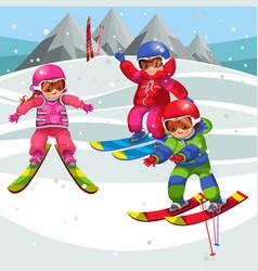 Cartoon kids having fun on skis on winter holiday vector