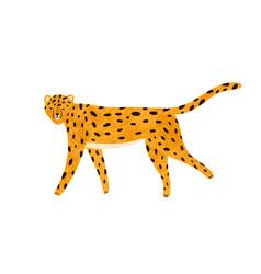 childish textured portrait walking leopard vector image